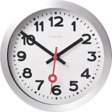 NeXtime 19cm Station Aluminium Round Table/Desk/Wall Clock - Brushed