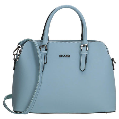Charm London Canary Wharf Ladies PU Hand Bag - Light Blue