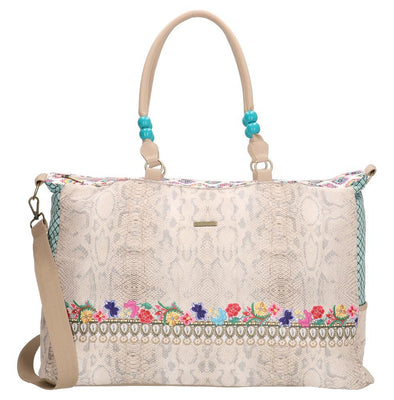 Melli Mello Elif Ladies Raffia Shopper/Beach Bag - Pink 17134-BEIGE