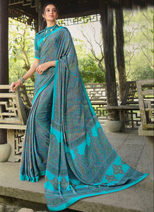 Printed  P Crepe Sky Blue Color Saree