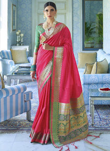 Zari thread   Tessar silk  Rani pink Color Saree