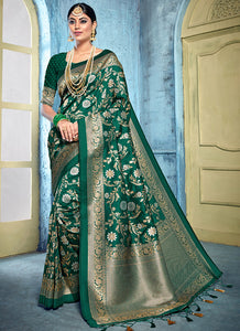 Weaving  Jacquard  Rich Banarasi Silk Green Color Saree