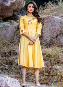 Embroidery Work & Hand Touchu Yellow Color Kurti