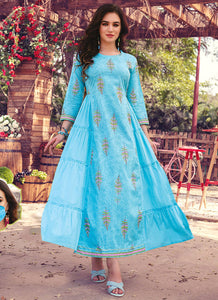 Hand Mannual Work With Three Layer Printed Matching Heavy Mask  Sky Blue Color Kurti