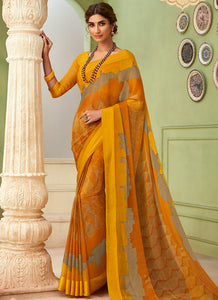 Printed  Chiffon Yellow Color Saree