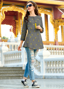 Print With Embroidred Work Work Grey Color Kurti