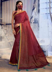Fancy Printed   Lace Border Jute Linen  Maroon Color Saree