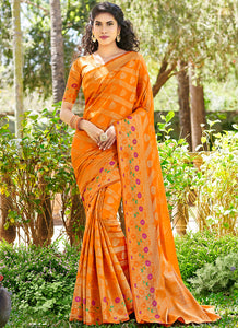 Weaving  Jacquard  Silk Yellow Color Saree