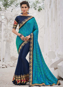 Embroidred  Satin Georgette Blue Color Saree