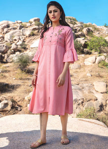 Embroidery Work & Hand Touchu Pink Color Kurti
