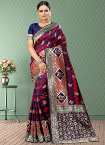 Weaving  Jacquard  Silk  Red-Navy Blue Color Saree