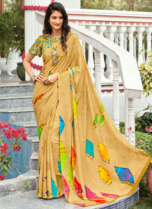 Digital Printed  Silk Crepe Gold Color Saree