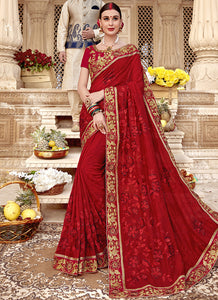 Heavy Embroidery  Burfi silk  Red Color Saree