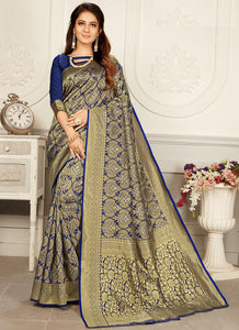 Weaving  Jacquard  Woven Silk  Blue Color Saree