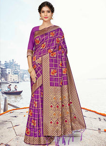 Weaving  Jacquard  Silk  Purple Color Saree