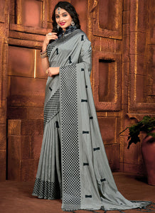 Embroidred  Sana Silk Grey Color Saree