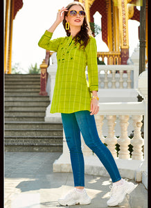 Understandable Print With Embroidred Work Work Light Green Color Kurti