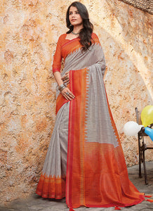 Print  Cotton Grey Color Saree