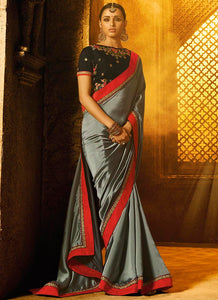 Heavy Embroidred  Stone  Silk Grey Color Saree