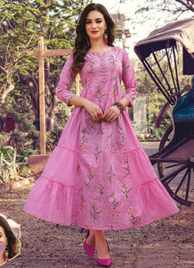 Hand Mannual Work With Three Layer Printed Matching Heavy Mask  Pink Color Kurti