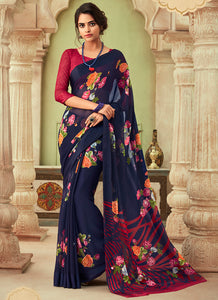 Printed  Chiffon Navy Blue Color Saree