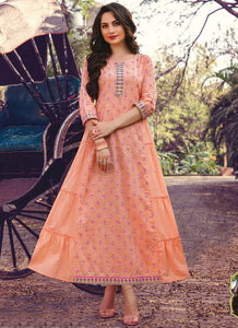 Hand Mannual Work With Three Layer Printed Matching Heavy Mask  Peach Color Kurti