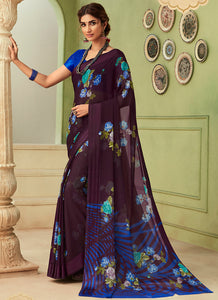 Printed  Chiffon Wine Color Saree