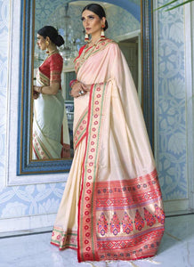 Zari thread   Tessar silk  Off white Color Saree