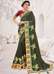Embroidred  Satin Georgette Mehendi Green Color Saree