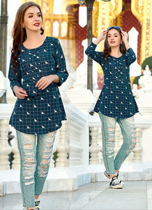 Vivacious Print With Embroidred Work Work Blue Color Kurti