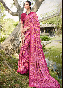 Printed  P Crepe Rani Pink Color Saree