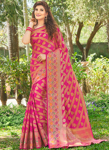 Weaving  Jacquard  Silk Rani Pink Color Saree