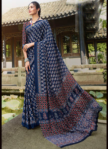 Printed  P Crepe Navy Blue Color Saree