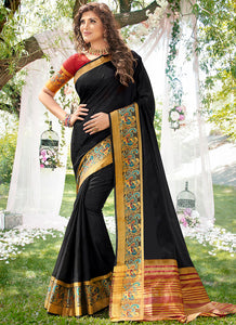 Weaving  Jacquard  Khadi Silk Black Color Saree