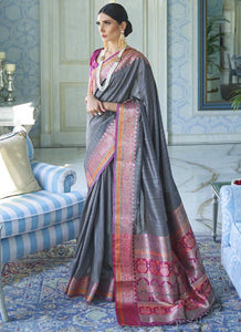 Zari thread   Tessar silk  Grey Color Saree
