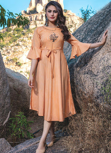 Embroidery Work & Hand Touchu Light Orange Color Kurti