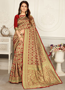 Weaving  Jacquard  Woven Silk  Red Color Saree