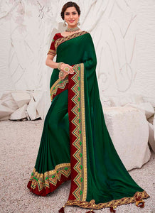 Embroidred  Satin Georgette Green Color Saree