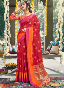 Boota , Rich Pallu Cotton Based Red Color Saree