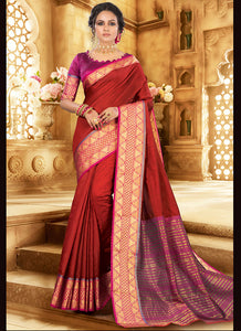 Weaving  Khadi Silk Maroon Color Saree