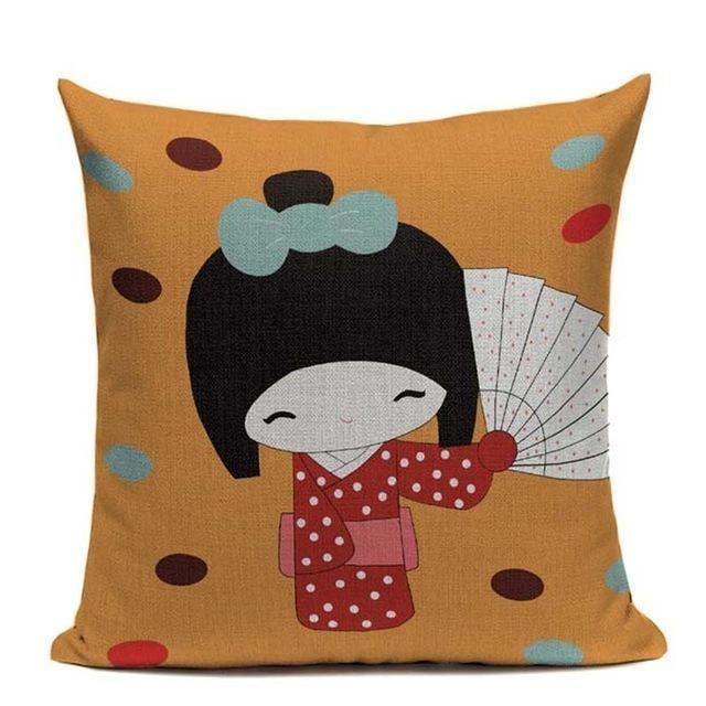Housse de Coussin Japonaise Kawaii - Orange