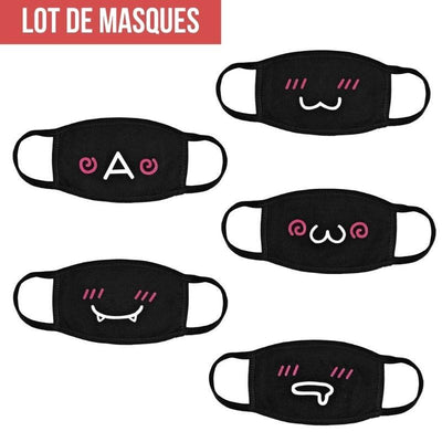 Lot de Masques Japonais Kawaii - Unique