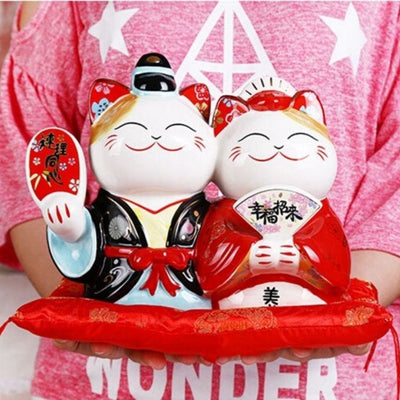 Maneki Neko Tirelire - Couple Chanceux