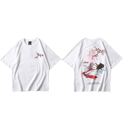 T-shirt Japonais Chat Guerrier - Blanc / S