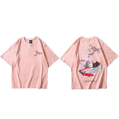 T-shirt Japonais Chat Guerrier - Rose / S