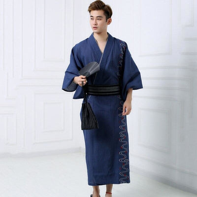 Yukata Homme Traditionnel Bleu - M