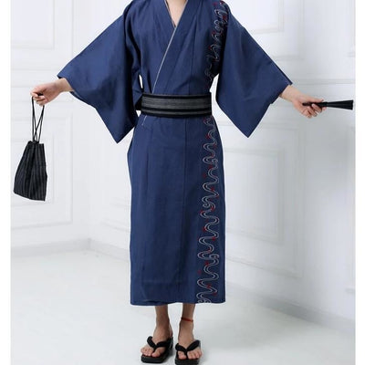Yukata Homme Traditionnel Bleu