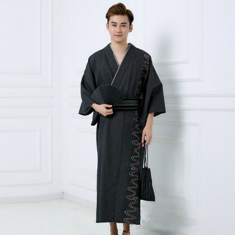 Yukata Homme Traditionnel Noir - M