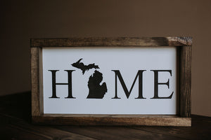 Home W/ Michigan - Wood Sign
