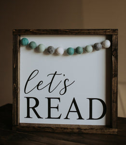 Let's Read With Garland - Wood Sign